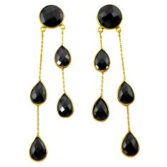 42.10cts natural black onyx 925 silver 14k gold chandelier earrings p75391