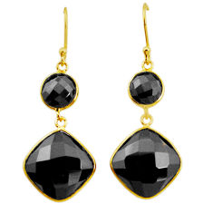 20.03cts natural black onyx 925 sterling silver 14k gold dangle earrings p50132