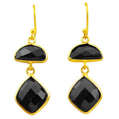 14.30cts natural black onyx 925 sterling silver 14k gold dangle earrings p75182