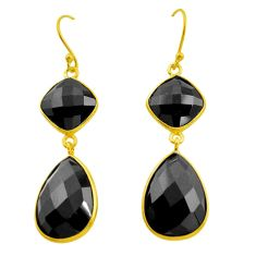 23.23cts natural black onyx 925 sterling silver 14k gold dangle earrings p75221