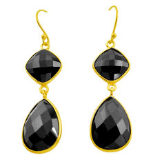 26.37cts natural black onyx 925 sterling silver 14k gold dangle earrings p75226
