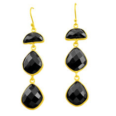 24.38cts natural black onyx 925 sterling silver 14k gold dangle earrings p75267