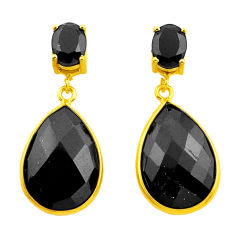 19.30cts natural black onyx 925 sterling silver 14k gold dangle earrings p75286