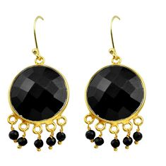 26.15cts natural black onyx 925 sterling silver 14k gold dangle earrings p75342