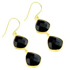 19.09cts natural black onyx 925 sterling silver 14k gold dangle earrings p75501