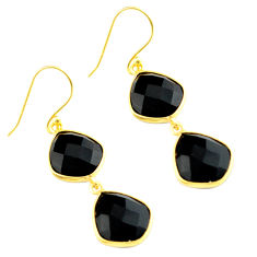 18.36cts natural black onyx 925 sterling silver 14k gold dangle earrings p75502