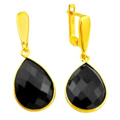 18.39cts natural black onyx 925 sterling silver 14k gold earrings jewelry p50118