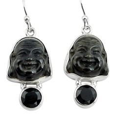 16.73cts natural black onyx 925 sterling silver buddha charm earrings p78207
