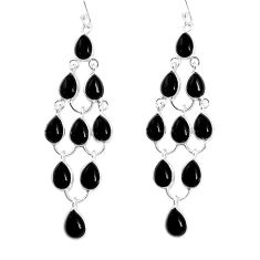 21.53cts natural black onyx 925 sterling silver chandelier earrings p54504