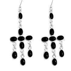 14.82cts natural black onyx 925 sterling silver dangle earrings jewelry d32430