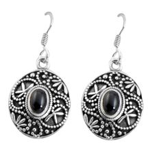 3.46cts natural black onyx 925 sterling silver dangle earrings jewelry d32460