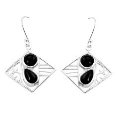 7.51cts natural black onyx 925 sterling silver dangle earrings jewelry p32481