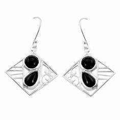 7.51cts natural black onyx 925 sterling silver dangle earrings jewelry p32482