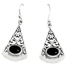 3.42cts natural black onyx 925 sterling silver dangle earrings jewelry p34388