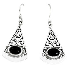 2.81cts natural black onyx 925 sterling silver dangle earrings jewelry p34409