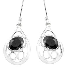 7.24cts natural black onyx 925 sterling silver dangle earrings jewelry p40212
