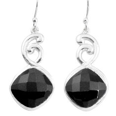 14.42cts natural black onyx 925 sterling silver dangle earrings jewelry p43643