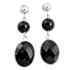 18.48cts natural black onyx 925 sterling silver dangle earrings jewelry p43665