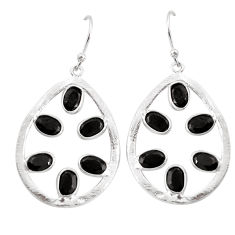 10.27cts natural black onyx 925 sterling silver dangle earrings jewelry p43796