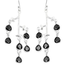10.75cts natural black onyx 925 sterling silver dangle earrings jewelry p43855