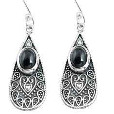 4.04cts natural black onyx 925 sterling silver dangle earrings jewelry p63917