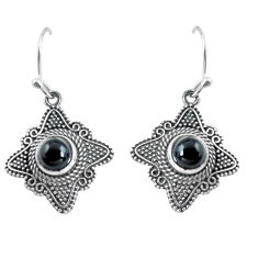 2.74cts natural black onyx 925 sterling silver dangle earrings jewelry p63954