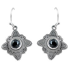 2.51cts natural black onyx 925 sterling silver dangle earrings jewelry p63997