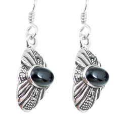 3.73cts natural black onyx 925 sterling silver dangle earrings jewelry p64030