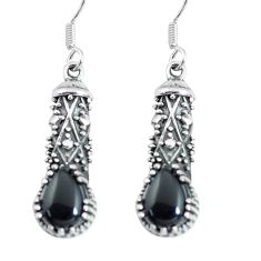 4.38cts natural black onyx 925 sterling silver dangle earrings jewelry p64039