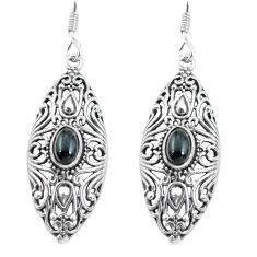 3.29cts natural black onyx 925 sterling silver dangle earrings jewelry p64869
