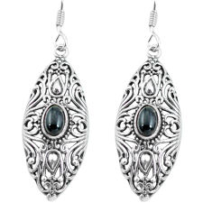 3.41cts natural black onyx 925 sterling silver dangle earrings jewelry p64870