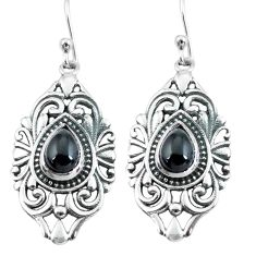 4.71cts natural black onyx 925 sterling silver dangle earrings jewelry p64901