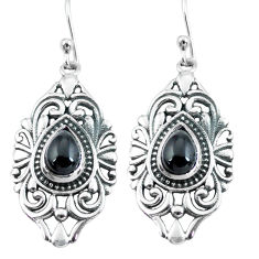 4.71cts natural black onyx 925 sterling silver dangle earrings jewelry p64902