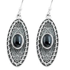 4.59cts natural black onyx 925 sterling silver dangle earrings jewelry p64949
