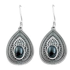 4.35cts natural black onyx 925 sterling silver dangle earrings jewelry p64963