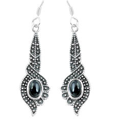 4.55cts natural black onyx 925 sterling silver dangle earrings jewelry p64979