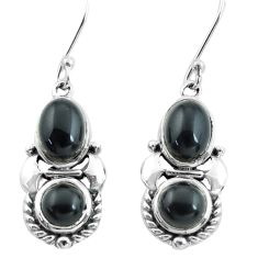 7.12cts natural black onyx 925 sterling silver dangle earrings jewelry p64995