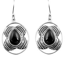 6.31cts natural black onyx 925 sterling silver dangle earrings jewelry p77562