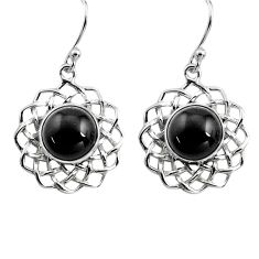 6.85cts natural black onyx 925 sterling silver dangle earrings jewelry p84985