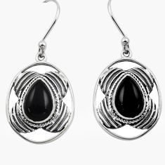 6.07cts natural black onyx 925 sterling silver dangle earrings jewelry p88442
