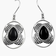 6.31cts natural black onyx 925 sterling silver dangle earrings jewelry p88443