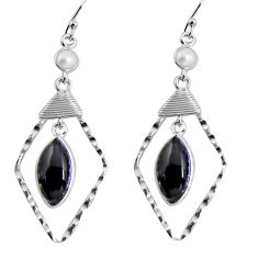 12.55cts natural black onyx 925 sterling silver dangle earrings jewelry p90009