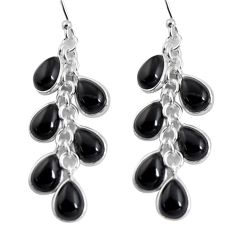 13.69cts natural black onyx 925 sterling silver dangle earrings jewelry p91521