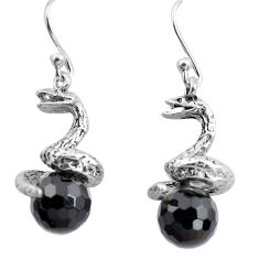 11.66cts natural black onyx 925 sterling silver snake earrings jewelry p84845