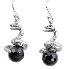 11.66cts natural black onyx 925 sterling silver snake earrings jewelry p84847