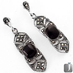 6.42cts NATURAL BLACK ONYX MARCASITE 925 STERLING SILVER DANGLE EARRINGS F29292