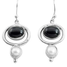 7.89cts natural black onyx pearl 925 sterling silver dangle earrings p77546
