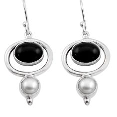 9.07cts natural black onyx pearl 925 sterling silver dangle earrings p88466