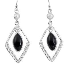 11.73cts natural black onyx pearl 925 sterling silver dangle earrings p89941