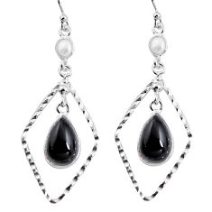 8.80cts natural black onyx pearl 925 sterling silver dangle earrings p92482